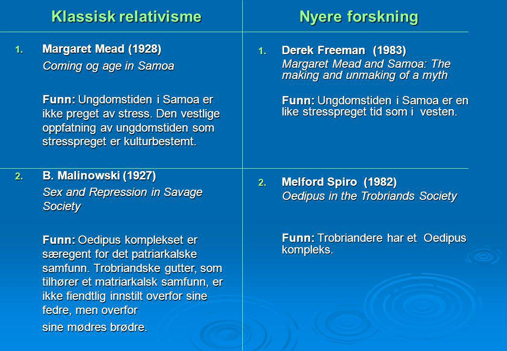 Klassisk relativisme Nyere forskning 1. Margaret Mead (1928) Coming og age in Samoa Funn: Ungdomstiden i Samoa er ikke preget av stress. Den vestlige