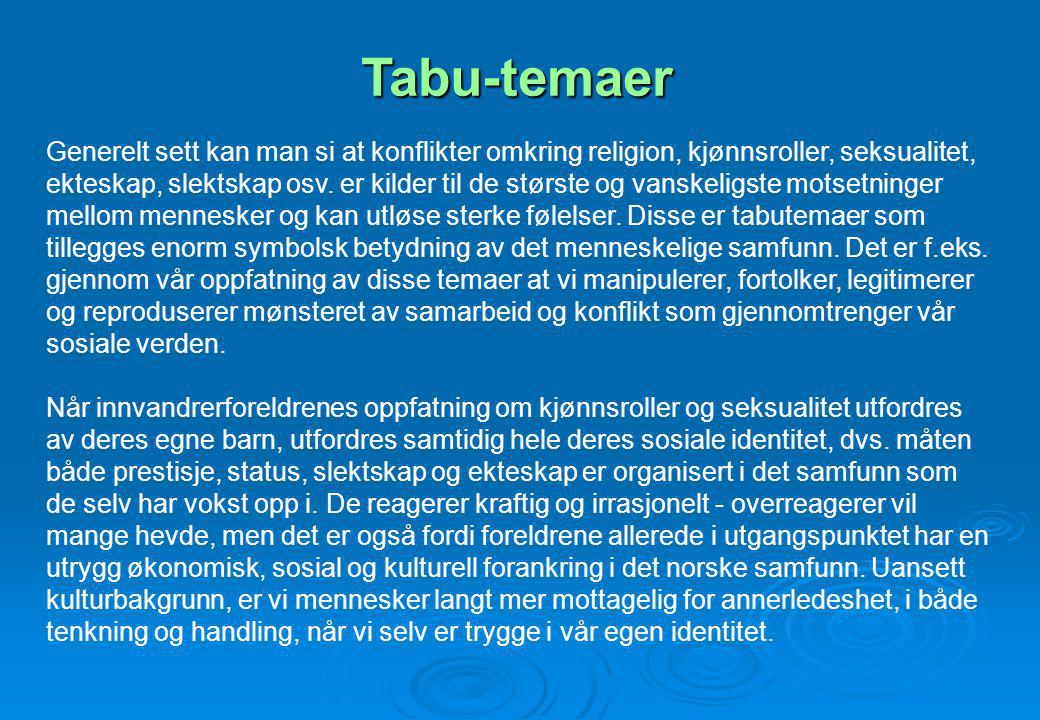 Tabu-temaer Generelt sett kan man si at konflikter omkring religion, kjønnsroller, seksualitet, ekteskap, slektskap osv. er kilder til de største og v