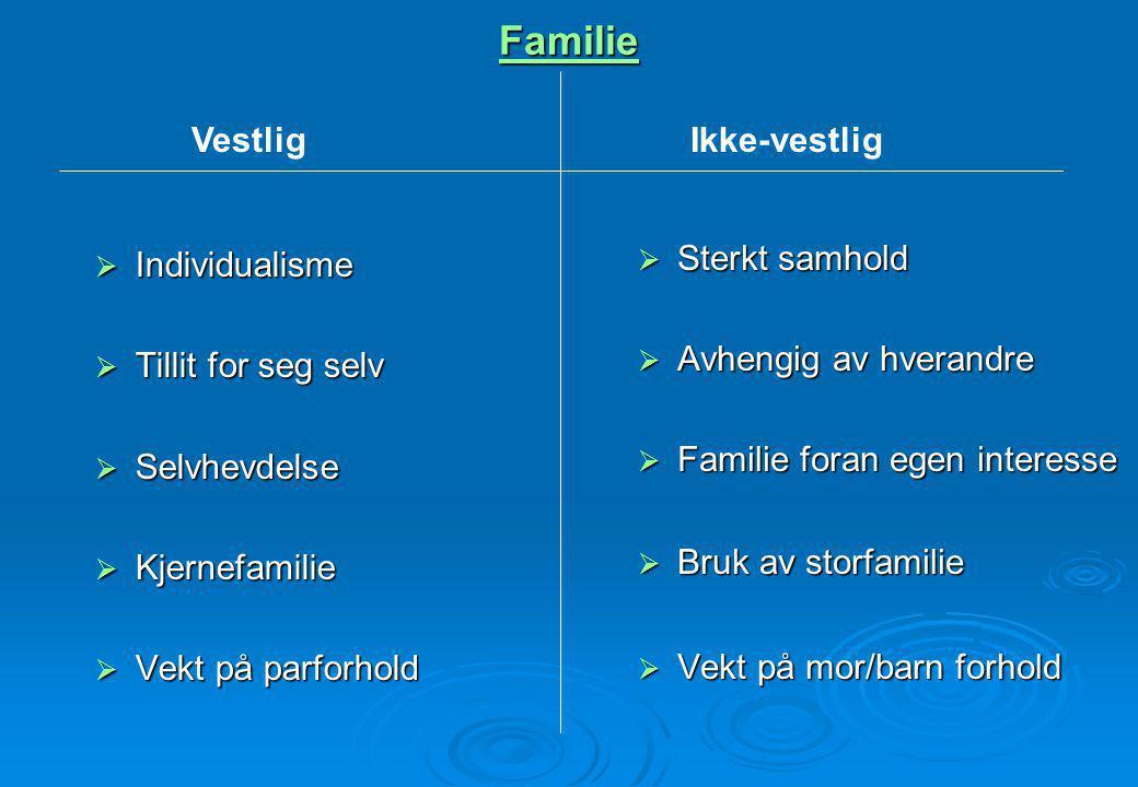Familie  Individualisme  Tillit for seg selv  Selvhevdelse  Kjernefamilie  Vekt på parforhold  Sterkt samhold  Avhengig av hverandre  Familie