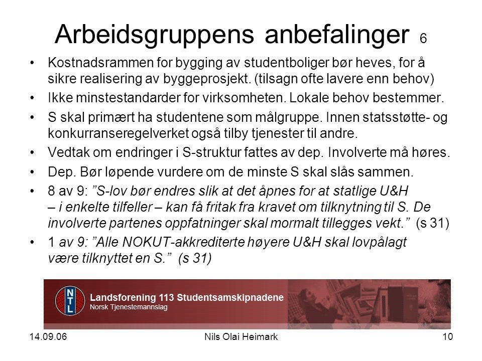 14.09.06Nils Olai Heimark10 Arbeidsgruppens anbefalinger 6 Kostnadsrammen for bygging av studentboliger bør heves, for å sikre realisering av byggeprosjekt.