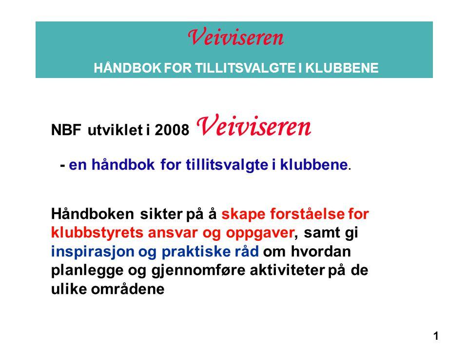 1 Veiviseren HÅNDBOK FOR TILLITSVALGTE I KLUBBENE Informasjon NBF utviklet i 2008 Veiviseren - en håndbok for tillitsvalgte i klubbene. Håndboken sikt