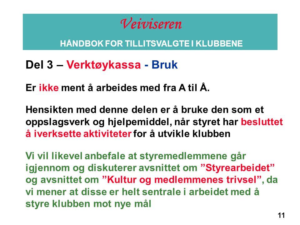 11 Informasjon Del 3 – Verktøykassa - Bruk Er ikke ment å arbeides med fra A til Å. Hensikten med denne delen er å bruke den som et oppslagsverk og hj