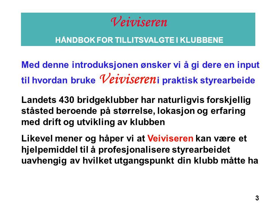 3 Informasjon Med denne introduksjonen ønsker vi å gi dere en input til hvordan bruke Veiviseren i praktisk styrearbeide Landets 430 bridgeklubber har