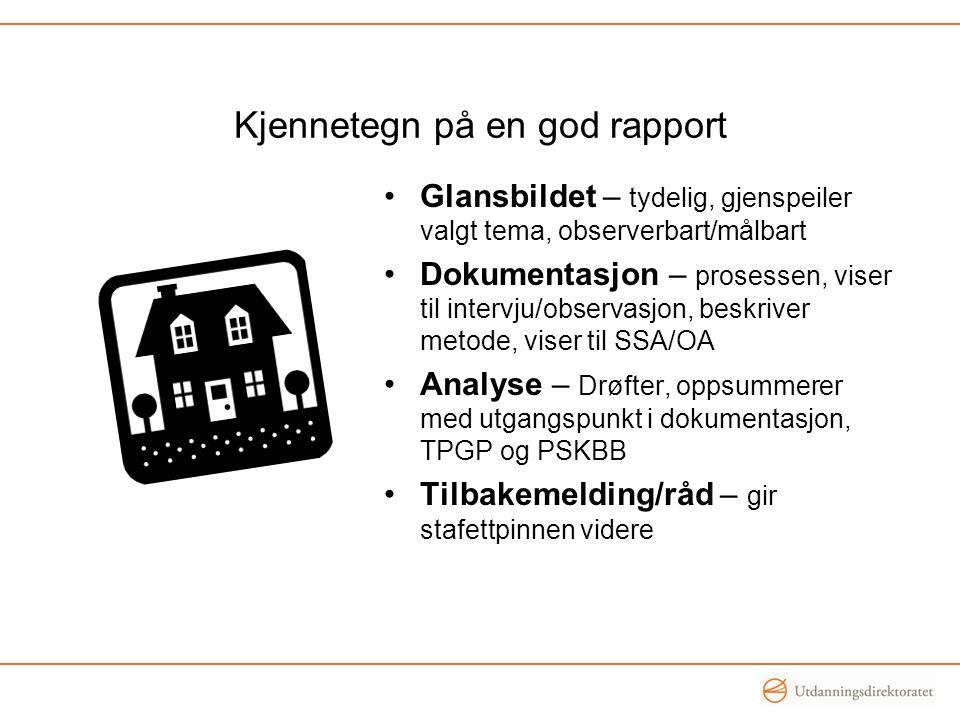Dokumentasjon og tekst i rapportene Vurderingen må ikke være pratsom , men konkret og til poenget Klipp fra nett må være kort og heller ha en lenke SSA og OA-resultater der det forsterker analysene, ev.
