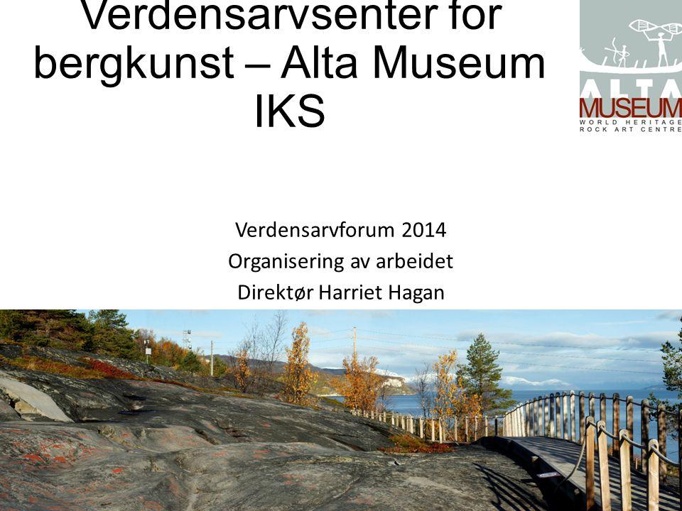 Verdensarvsenter for bergkunst – Alta Museum IKS Alta Museum etablert i 1978 som avdeling i Alta kommune fram til 2007 Interkommunalt selskap stiftet av Finnmark fylkeskommune og Alta kommune med 50% hver 1.5.2007 Etablert som ledd i den nasjonale museumsreformen (konsolideringsprosessen) som en av 5 museumsenheter i Finnmark Nytt bygg åpnet i 1991, utvidet i 2013