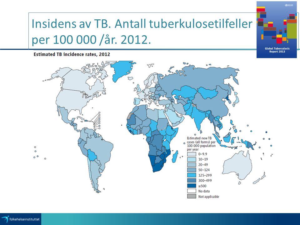 Insidens av TB. Antall tuberkulosetilfeller per 100 000 /år. 2012.