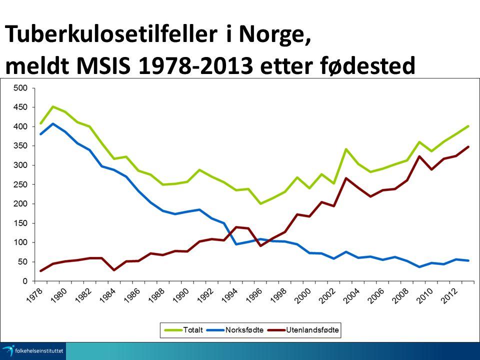 Tuberkulosetilfeller i Norge, meldt MSIS 1978-2013 etter fødested