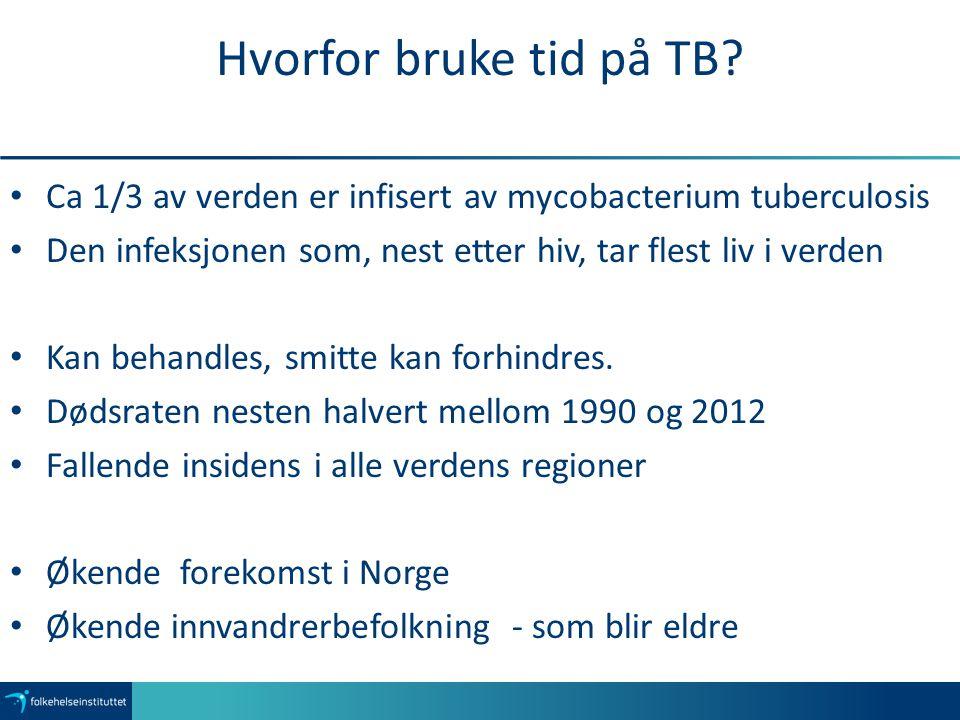 Hvorfor bruke tid på TB? Ca 1/3 av verden er infisert av mycobacterium tuberculosis Den infeksjonen som, nest etter hiv, tar flest liv i verden Kan be