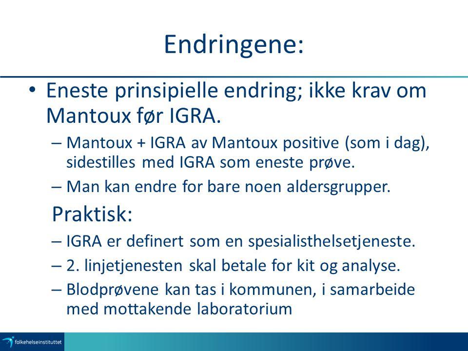 Endringene: Eneste prinsipielle endring; ikke krav om Mantoux før IGRA. – Mantoux + IGRA av Mantoux positive (som i dag), sidestilles med IGRA som ene