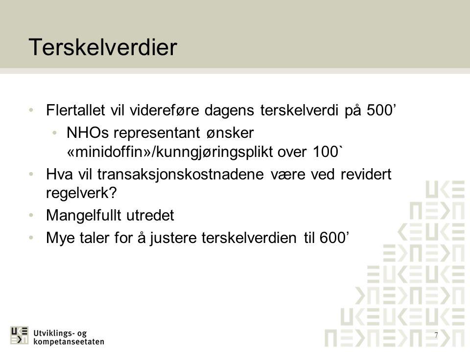 Terskelverdier Flertallet vil videreføre dagens terskelverdi på 500' NHOs representant ønsker «minidoffin»/kunngjøringsplikt over 100` Hva vil transak