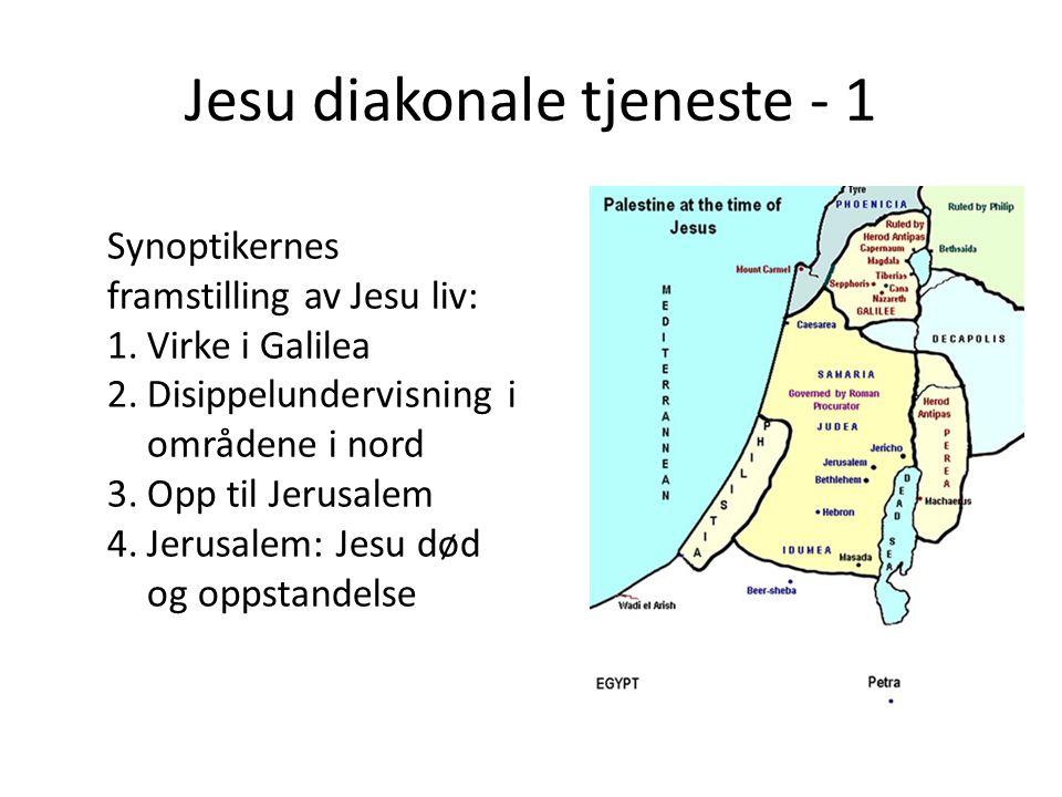 Jesu diakonale tjeneste - 1 Synoptikernes framstilling av Jesu liv: 1.Virke i Galilea 2.Disippelundervisning i områdene i nord 3.Opp til Jerusalem 4.Jerusalem: Jesu død og oppstandelse