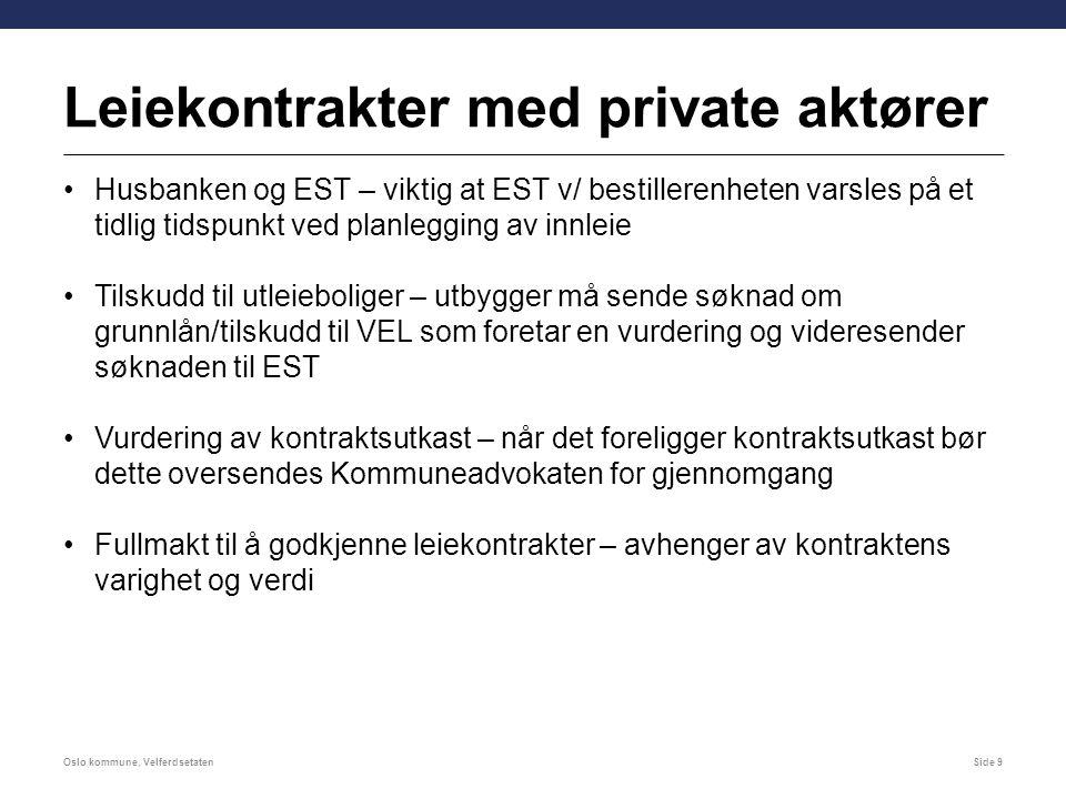 Leiekontrakter med private aktører Husbanken og EST – viktig at EST v/ bestillerenheten varsles på et tidlig tidspunkt ved planlegging av innleie Tils