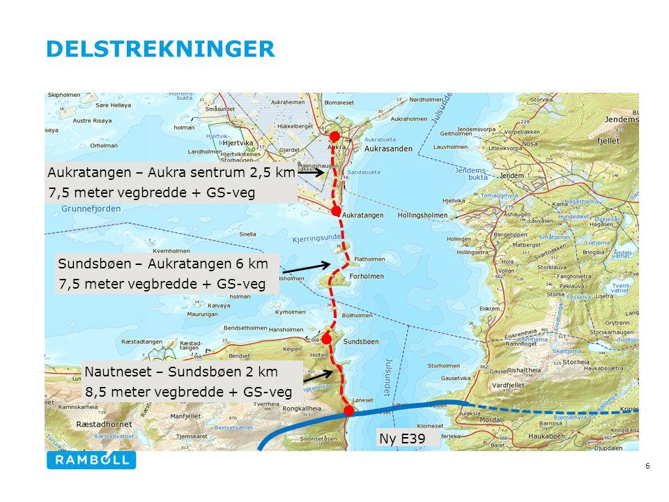 DELSTREKNINGER 6 Nautneset – Sundsbøen 2 km 8,5 meter vegbredde + GS-veg Sundsbøen – Aukratangen 6 km 7,5 meter vegbredde + GS-veg Aukratangen – Aukra