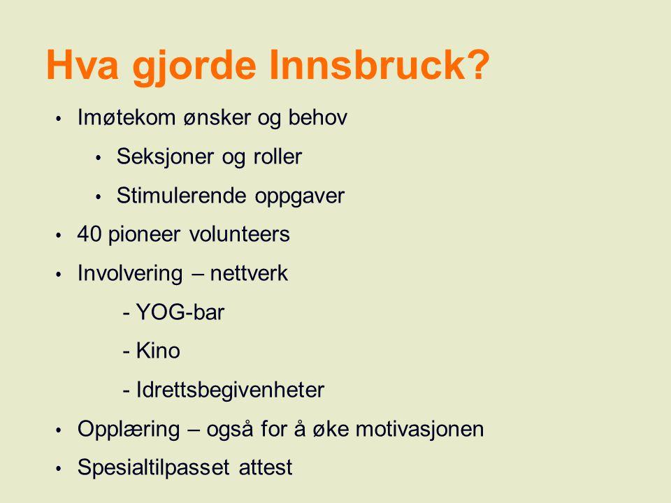Hva gjorde Innsbruck? Imøtekom ønsker og behov Seksjoner og roller Stimulerende oppgaver 40 pioneer volunteers Involvering – nettverk - YOG-bar - Kino