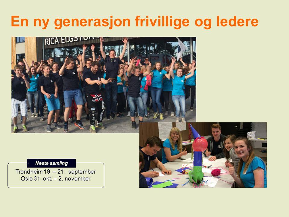 En ny generasjon frivillige og ledere Trondheim 19. – 21. september Oslo 31. okt. – 2. november Neste samling: