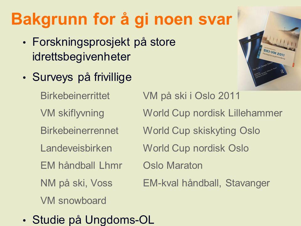 Bakgrunn for å gi noen svar Forskningsprosjekt på store idrettsbegivenheter Surveys på frivillige BirkebeinerrittetVM på ski i Oslo 2011 VM skiflyvnin