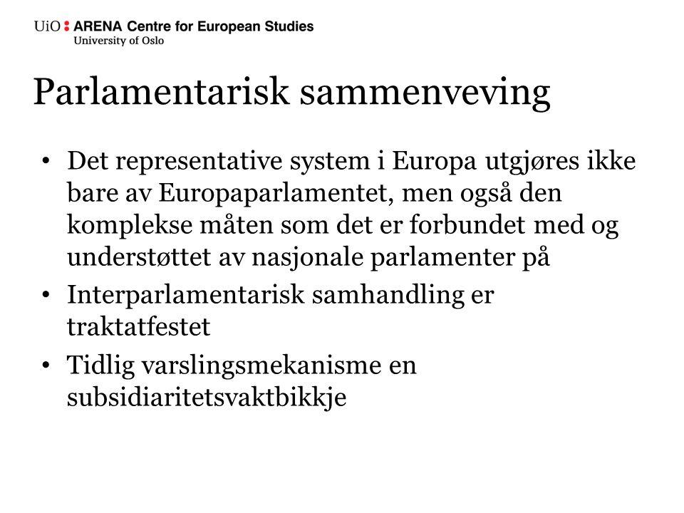 Parlamentarisk sammenveving Det representative system i Europa utgjøres ikke bare av Europaparlamentet, men også den komplekse måten som det er forbundet med og understøttet av nasjonale parlamenter på Interparlamentarisk samhandling er traktatfestet Tidlig varslingsmekanisme en subsidiaritetsvaktbikkje