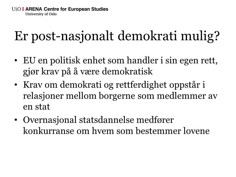 EU en politisk enhet som handler i sin egen rett, gjør krav på å være demokratisk Krav om demokrati og rettferdighet oppstår i relasjoner mellom borgerne som medlemmer av en stat Overnasjonal statsdannelse medfører konkurranse om hvem som bestemmer lovene