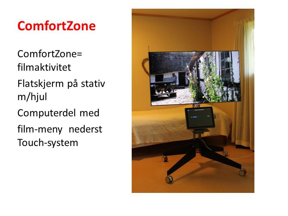 ComfortZone ComfortZone= filmaktivitet Flatskjerm på stativ m/hjul Computerdel med film-meny nederst Touch-system