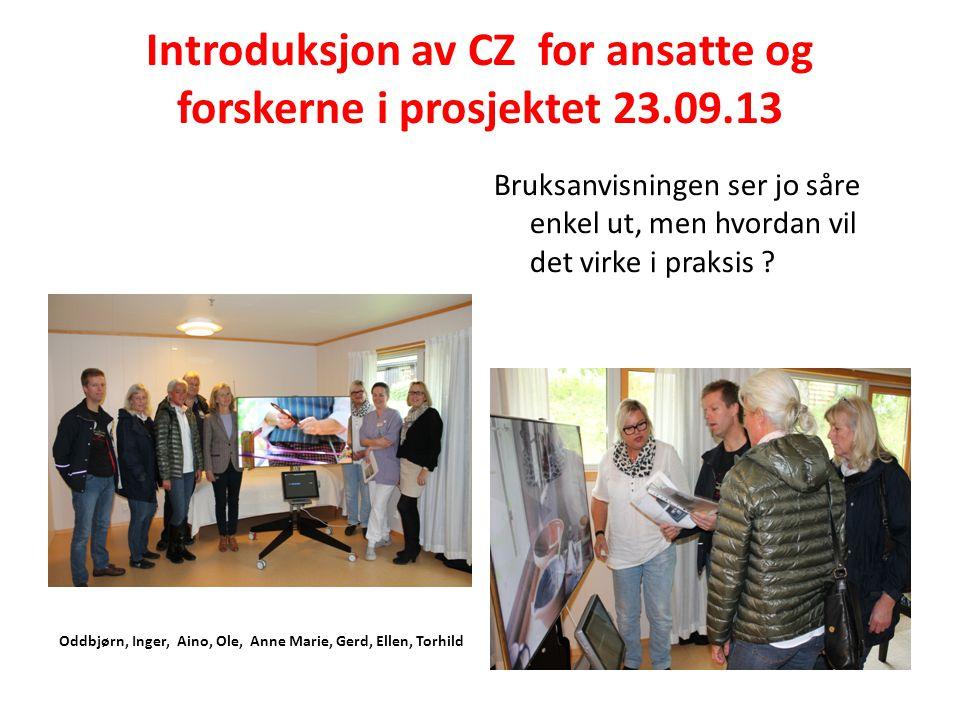 Introduksjon av CZ for ansatte og forskerne i prosjektet 23.09.13 Oddbjørn, Inger, Aino, Ole, Anne Marie, Gerd, Ellen, Torhild Bruksanvisningen ser jo såre enkel ut, men hvordan vil det virke i praksis