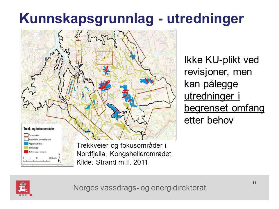 Norges vassdrags- og energidirektorat 11 Trekkveier og fokusområder i Nordfjella, Kongshellerområdet. Kilde: Strand m.fl. 2011 Kunnskapsgrunnlag - utr