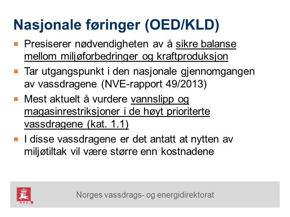 Norges vassdrags- og energidirektorat Nasjonale føringer (OED/KLD) ■ Presiserer nødvendigheten av å sikre balanse mellom miljøforbedringer og kraftpro