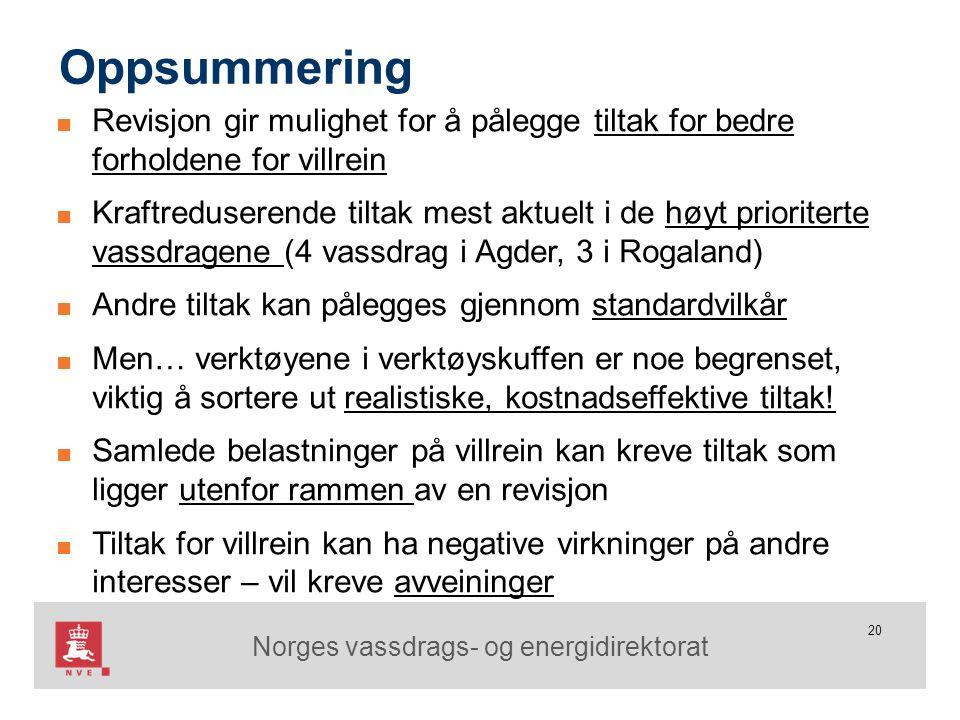 Norges vassdrags- og energidirektorat 20 Oppsummering ■ Revisjon gir mulighet for å pålegge tiltak for bedre forholdene for villrein ■ Kraftreduserend