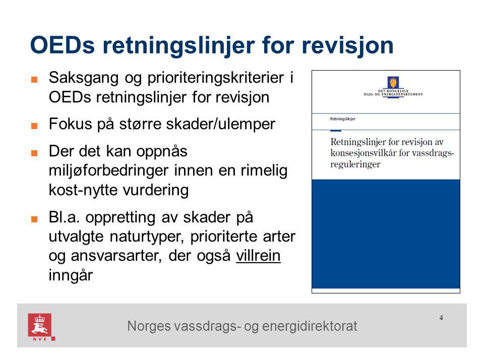 Norges vassdrags- og energidirektorat 4 OEDs retningslinjer for revisjon ■ Saksgang og prioriteringskriterier i OEDs retningslinjer for revisjon ■ Fok