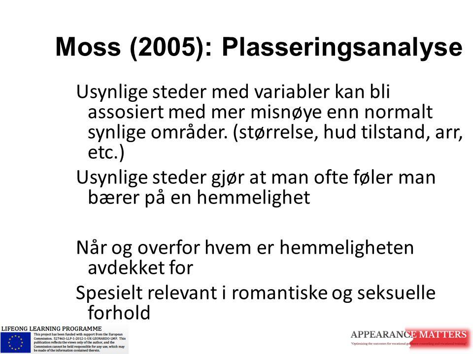 Moss (2005): Plasseringsanalyse Usynlige steder med variabler kan bli assosiert med mer misnøye enn normalt synlige områder. (størrelse, hud tilstand,