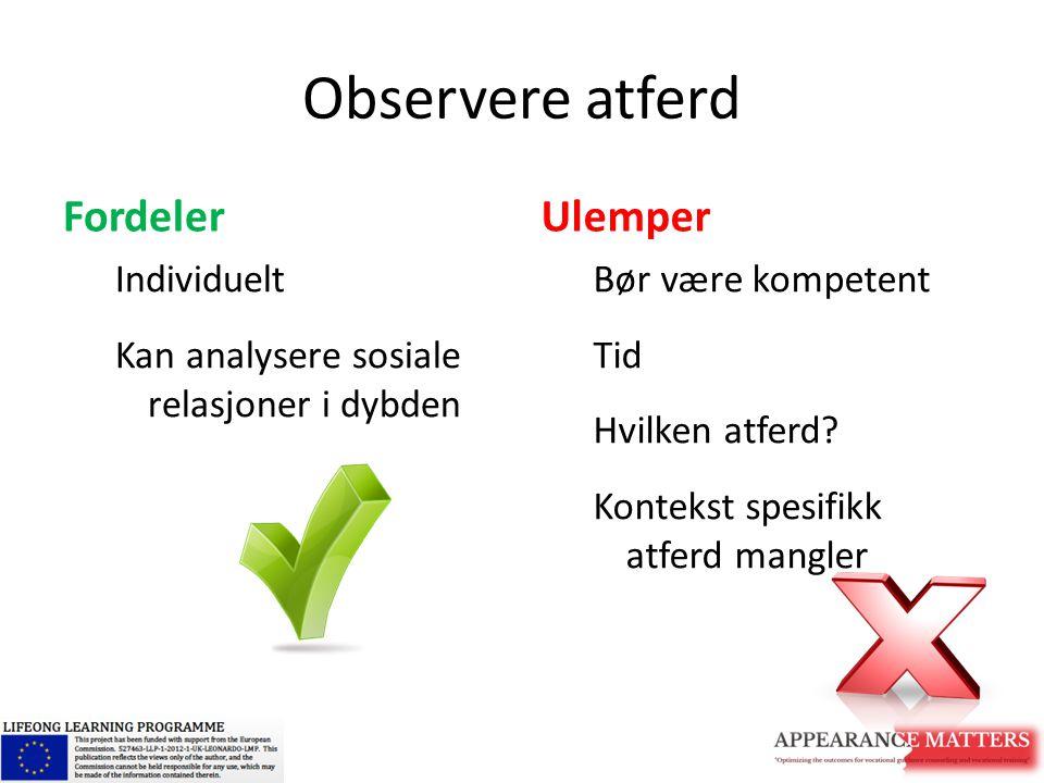 Observere atferd Fordeler Individuelt Kan analysere sosiale relasjoner i dybden Ulemper Bør være kompetent Tid Hvilken atferd? Kontekst spesifikk atfe