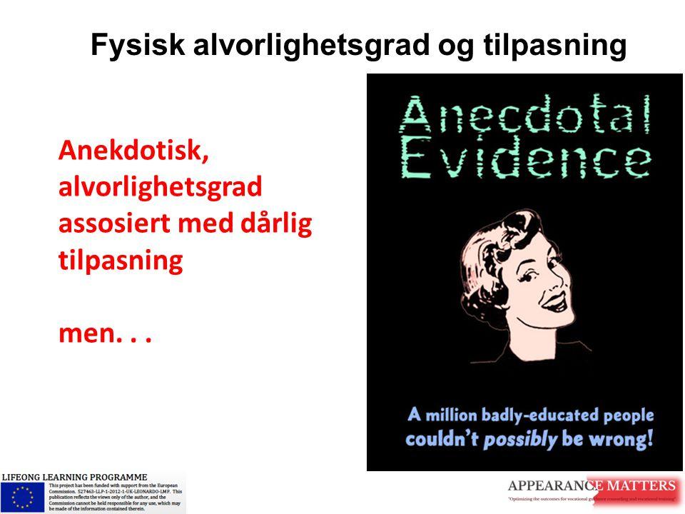 Fysisk alvorlighetsgrad og tilpasning Anekdotisk, alvorlighetsgrad assosiert med dårlig tilpasning men...
