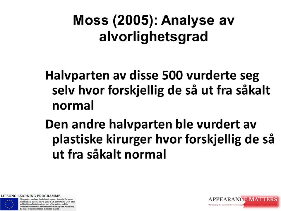 Moss (2005): Analyse av alvorlighetsgrad Selv-vurderte betraktninger om alvorlighetsgraden av utseendets avvik fra normalen, vil si noe om hvordan man føler seg som menneske