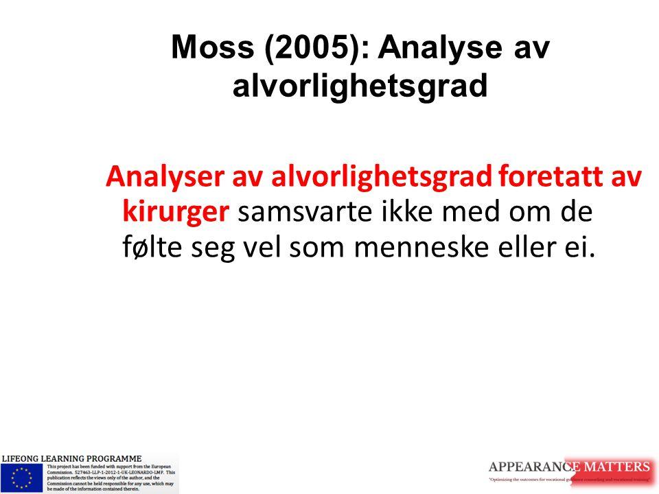 Moss (2005): Analyse av alvorlighetsgrad Analyser av alvorlighetsgrad foretatt av kirurger samsvarte ikke med om de følte seg vel som menneske eller e