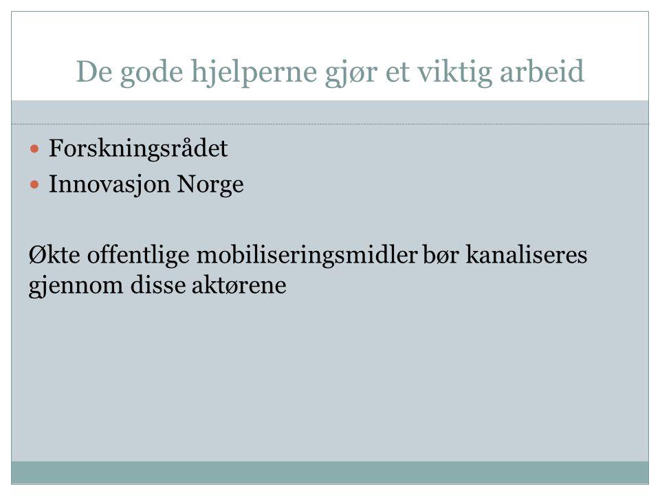 De gode hjelperne gjør et viktig arbeid Forskningsrådet Innovasjon Norge Økte offentlige mobiliseringsmidler bør kanaliseres gjennom disse aktørene