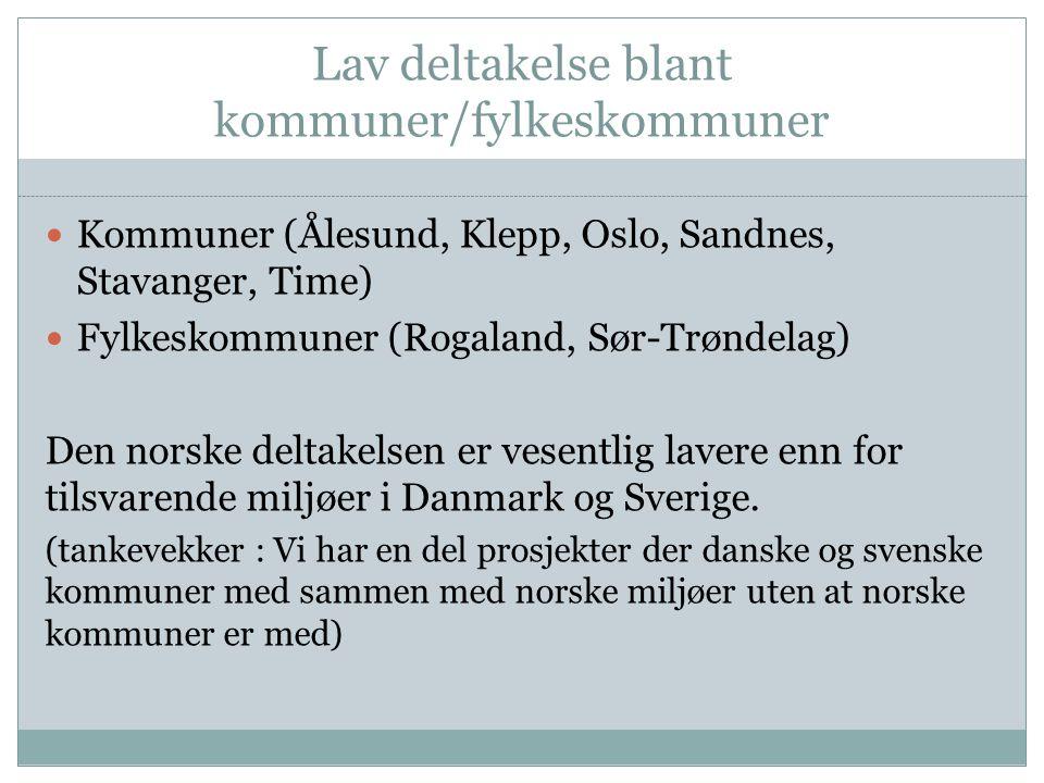 Lav deltakelse blant kommuner/fylkeskommuner Kommuner (Ålesund, Klepp, Oslo, Sandnes, Stavanger, Time) Fylkeskommuner (Rogaland, Sør-Trøndelag) Den norske deltakelsen er vesentlig lavere enn for tilsvarende miljøer i Danmark og Sverige.