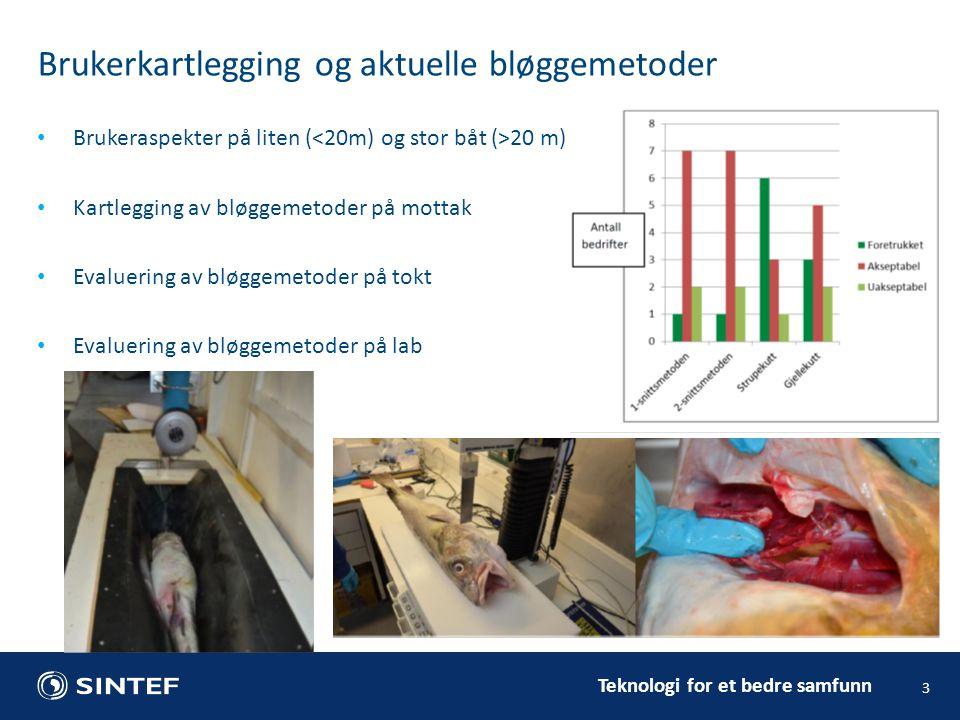 Teknologi for et bedre samfunn Brukerkartlegging og aktuelle bløggemetoder 3 Brukeraspekter på liten ( 20 m) Kartlegging av bløggemetoder på mottak Evaluering av bløggemetoder på tokt Evaluering av bløggemetoder på lab