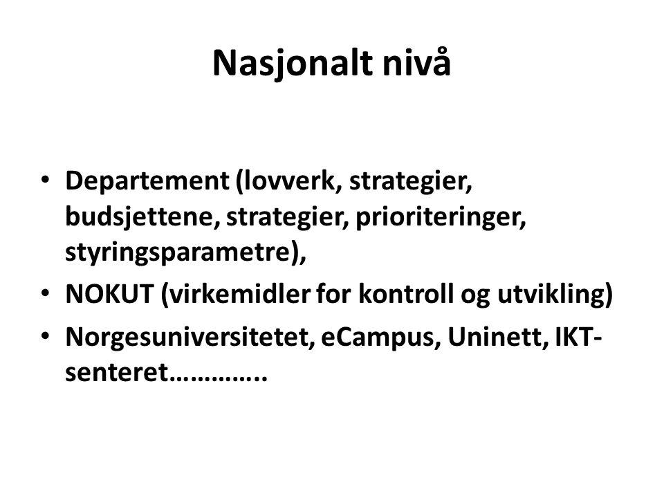 Nasjonalt nivå Departement (lovverk, strategier, budsjettene, strategier, prioriteringer, styringsparametre), NOKUT (virkemidler for kontroll og utvikling) Norgesuniversitetet, eCampus, Uninett, IKT- senteret…………..