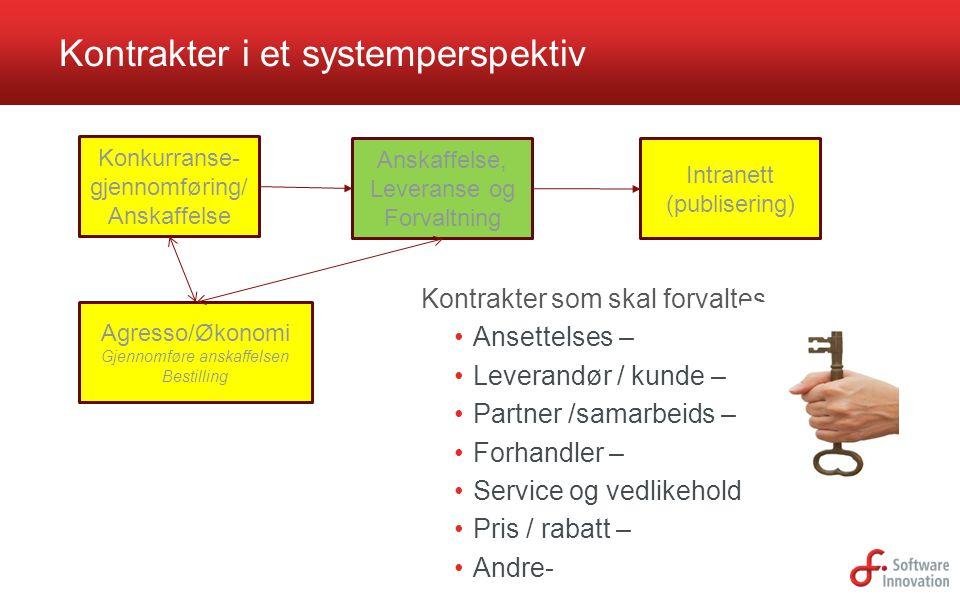Kontrakter i et systemperspektiv Kontrakter som skal forvaltes Ansettelses – Leverandør / kunde – Partner /samarbeids – Forhandler – Service og vedlik