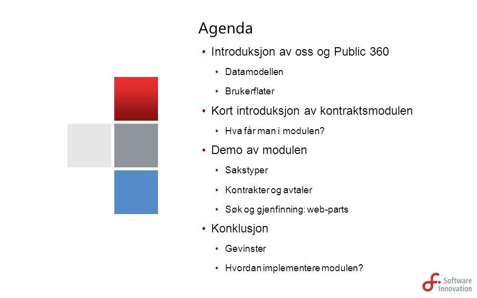 Introduksjon av oss og Public 360 Datamodellen Brukerflater Kort introduksjon av kontraktsmodulen Hva får man i modulen? Demo av modulen Sakstyper Kon