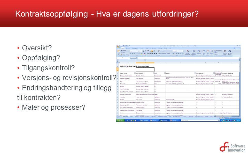 Kontraktsoppfølging - Hva er dagens utfordringer? Oversikt? Oppfølging? Tilgangskontroll? Versjons- og revisjonskontroll? Endringshåndtering og tilleg