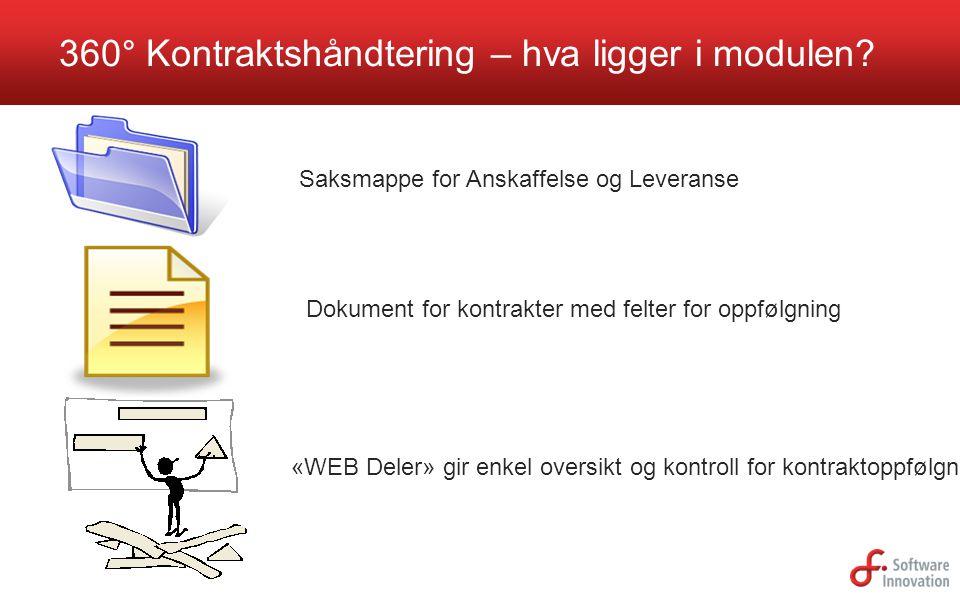 360° Kontraktshåndtering – hva ligger i modulen? Saksmappe for Anskaffelse og Leveranse Dokument for kontrakter med felter for oppfølgning «WEB Deler»