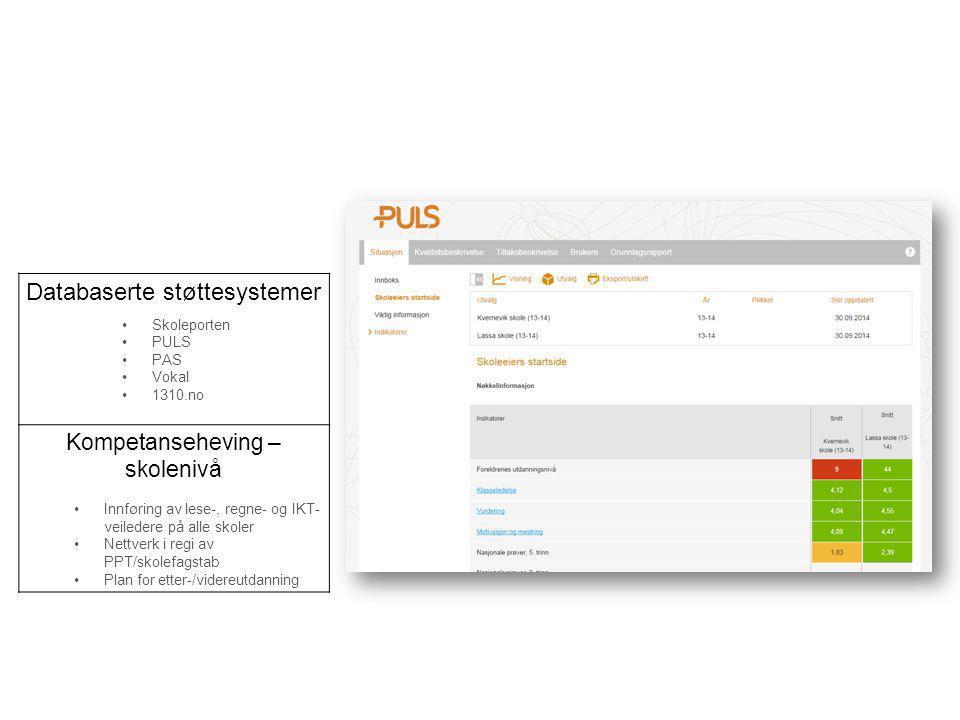 Databaserte støttesystemer Skoleporten PULS PAS Vokal 1310.no Kompetanseheving – skolenivå Innføring av lese-, regne- og IKT- veiledere på alle skoler