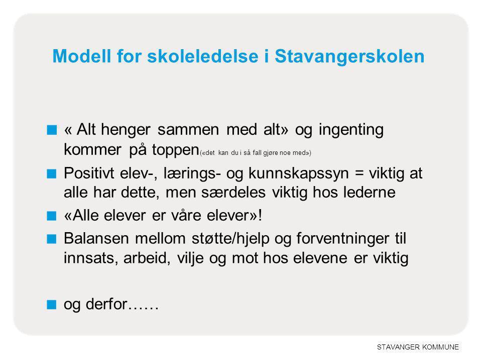 STAVANGER KOMMUNE Modell for skoleledelse i Stavangerskolen ■ « Alt henger sammen med alt» og ingenting kommer på toppen («det kan du i så fall gjøre