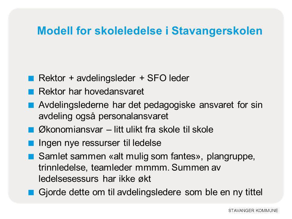 STAVANGER KOMMUNE Modell for skoleledelse i Stavangerskolen ■ Rektor + avdelingsleder + SFO leder ■ Rektor har hovedansvaret ■ Avdelingslederne har de