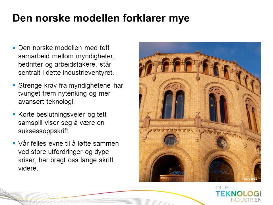 13 Norges Bank Pengepolitikk  Den norske modellen med tett samarbeid mellom myndigheter, bedrifter og arbeidstakere, står sentralt i dette industriev