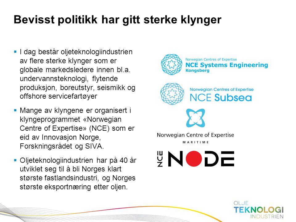 18 Norges Bank Pengepolitikk  I dag består oljeteknologiindustrien av flere sterke klynger som er globale markedsledere innen bl.a. undervannsteknolo