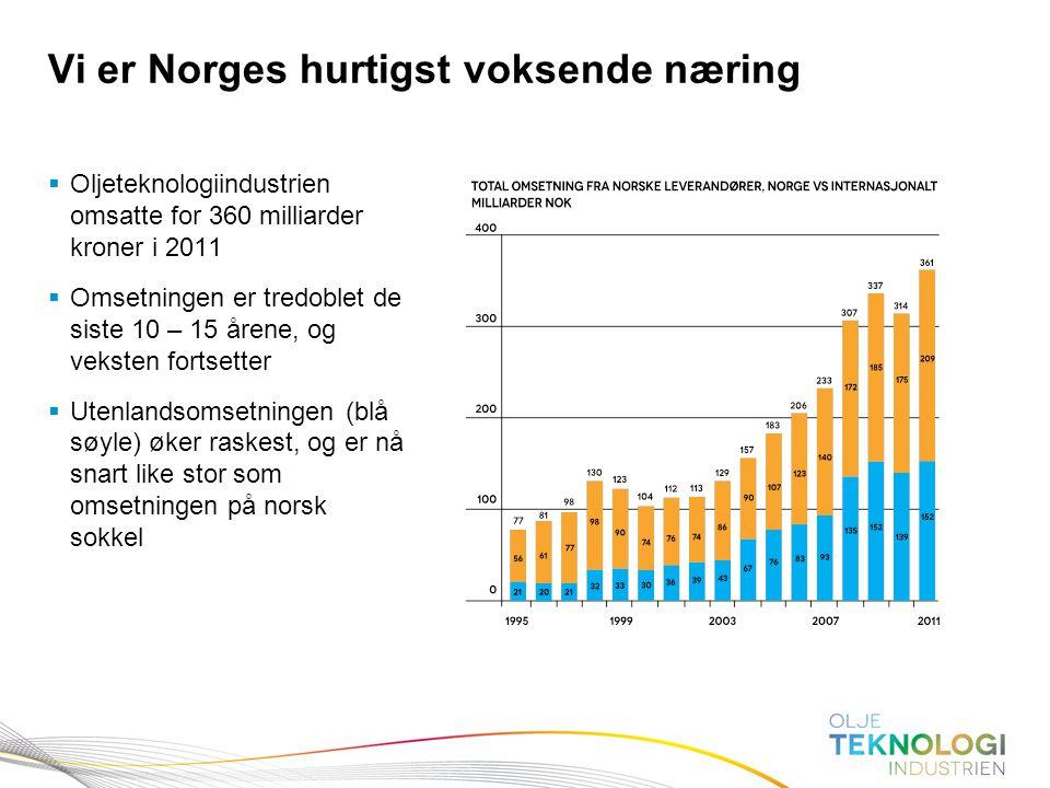 8 Norges Bank Pengepolitikk  Oljeteknologiindustrien omsatte for 360 milliarder kroner i 2011  Omsetningen er tredoblet de siste 10 – 15 årene, og v