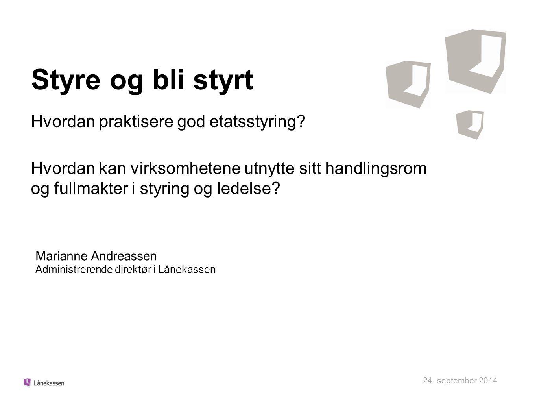 Felles utfordringer - stort behov for endring og innovasjon i staten Offentlige utgifter som andel av Fastlands-BNP og andel offentlige ansatte er høy (sammenlignet med andre OECD-land) Kostnadsutfordringer (Baumol) Etterspørselsvekst (Wagner) Aldring av befolkningen Perspektivmeldingen 2013: Offentlig forvaltning ½ prosent mer effektiv hvert år, der halvparten tas ut i reduserte utgifter, gir en reduksjon i bruk av arbeidskraft og andre innsatsfaktorer på 13 prosent frem mot 2060.