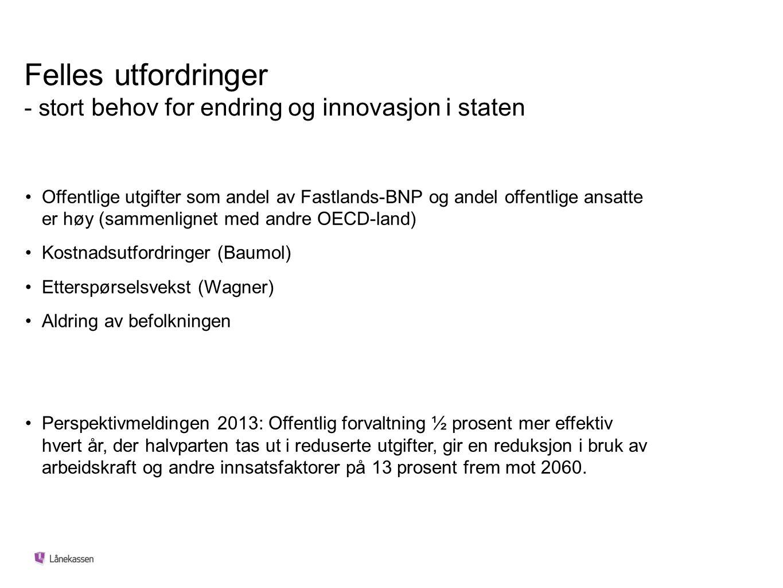 Felles utfordringer - stort behov for endring og innovasjon i staten Offentlige utgifter som andel av Fastlands-BNP og andel offentlige ansatte er høy