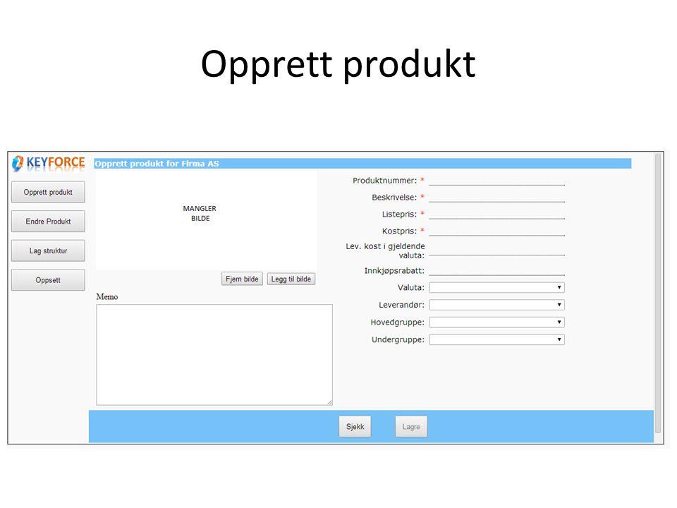 Opprett produkt